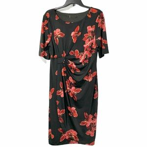 Connected Apparel Black Red Floral Dress